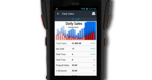 POS mobile device reflecting retail sales